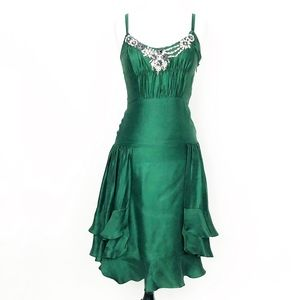 milly • green silk embellished ruffle party dress